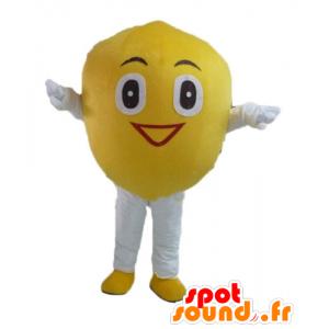 Lemon mascot, giant and smiling - MASFR23850 - Fruit mascot