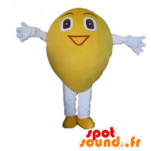 Lemon mascot, giant and smiling - MASFR23851 - Fruit mascot