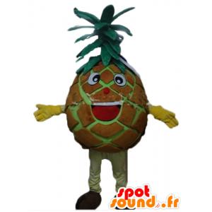 Riesen-Maskottchen Ananas, braun und grün, fröhlich und Spaß - MASFR23868 - Obst-Maskottchen