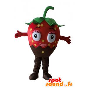 Schokoladen-Erdbeer-Maskottchen, schön und appetitlich - MASFR23870 - Obst-Maskottchen