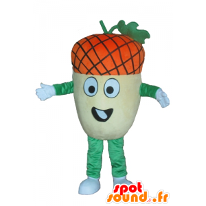 Giant acorn mascot, yellow, green and orange, very funny - MASFR23874 - Mascots of plants