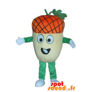 Mascotte de gland géant, jaune, vert et orange, très rigolo - MASFR23874 - Mascottes de plantes