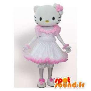 Maskottchen Hallo Kitty im rosa Kleid und weiße Prinzessin - MASFR006566 - Maskottchen Hello Kitty