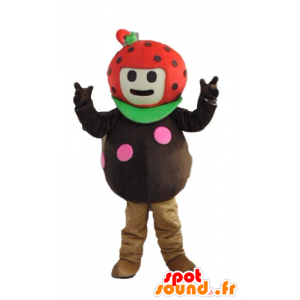 Strawberry Maskottchen, Marienkäfer, braun, rot und grün - MASFR23876 - Obst-Maskottchen