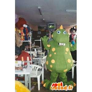 Mascot dinosaur green and yellow giant. Dragon costume - MASFR006567 - Dragon mascot