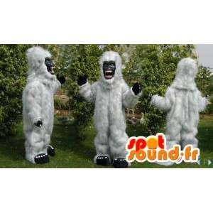 Valkoinen gorilla maskotti kaikki karvainen. valkoinen lumimies puku