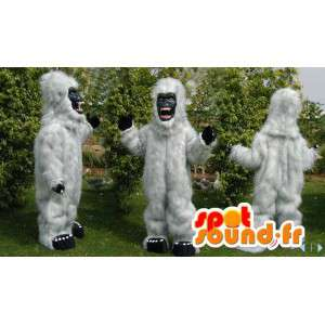 Witte gorilla mascotte alle behaard. wit yeti kostuum