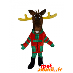 Brown reindeer mascot, with yellow wood, colorful dress - MASFR23898 - Animals of the forest
