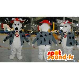Mascote branco cão vestido em uma veste e um chapéu vermelho - MASFR006571 - Mascotes cão