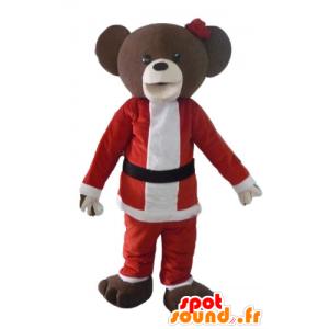 Brown teddy mascot in Santa Claus dress - MASFR23906 - Bear mascot
