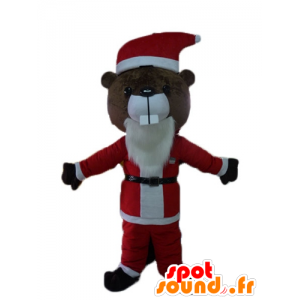 Brown beaver mascot in Santa Claus dress