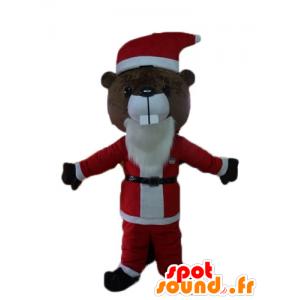 Mascotte de castor marron, en tenue de Père-Noël
