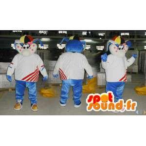Blauw en wit konijntje mascotte met een kleurrijke hoed - MASFR006573 - Mascot konijnen