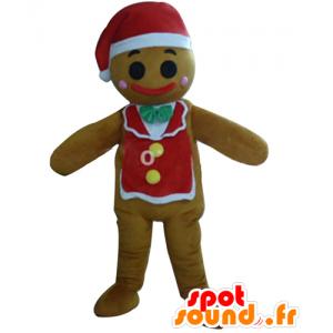 Mascotte de bonhomme de Noël, en pain d'épices - MASFR23916 - Mascottes Noël