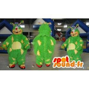 Mascotte de monstre vert et jaune tout poilu - Toutes tailles