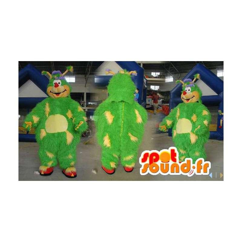 Mascotte de monstre vert et jaune tout poilu - Toutes tailles - MASFR006574 - Mascottes de monstres