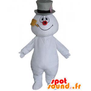 Sneeuwman mascotte, met een hoed en een pijp - MASFR23918 - Niet-ingedeelde Mascottes