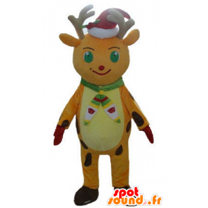 Weihnachten Rentier Maskottchen Orange und Gelb, mit einer Kappe - MASFR23919 - Weihnachten-Maskottchen