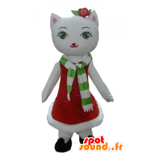 Mascota Gato blanco con un vestido de Navidad - MASFR23921 - Mascotas de Navidad
