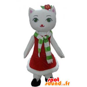 Weiße Katze Maskottchen mit einem Weihnachtskleid - MASFR23921 - Weihnachten-Maskottchen