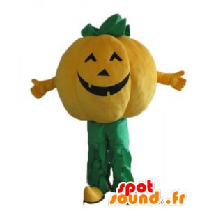 Kürbis-Maskottchen, orange und grün Riesen - MASFR23923 - Maskottchen von Gemüse