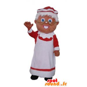 Maskot fru Claus klædt i en rød og hvid kjole - Spotsound