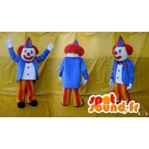 Μασκότ κλόουν μπλε, κίτρινο και κόκκινο. τσίρκο φορεσιά