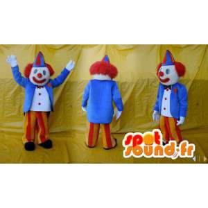 Blue clown mascot, yellow and red. Costume Circus