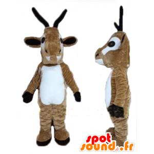 Mascotte de chèvre, de cabri, de renne marron et blanche