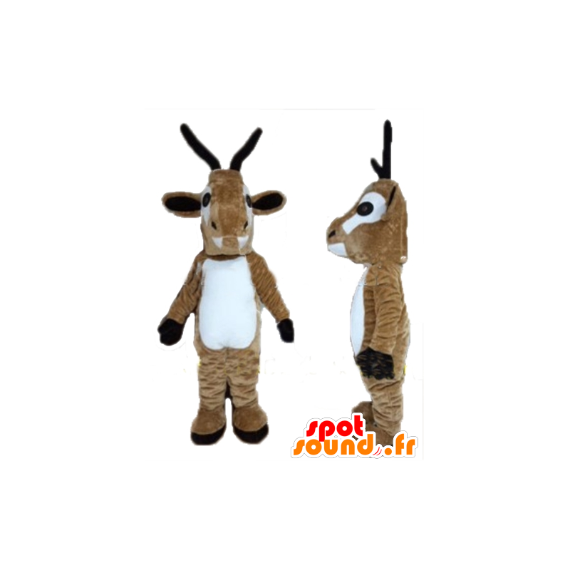 Goat mascot of goat, brown and white reindeer - MASFR23938 - Goats and goat mascots