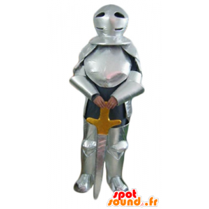 Knight Mascot with silver armor and a sword - MASFR23953 - Mascots horse