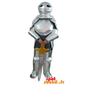 Ritter-Maskottchen mit silbernen Rüstung und ein Schwert - MASFR23953 - Maskottchen-Pferd