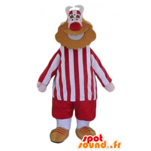 Man Maskottchen bärtigen Viking in rot und weiß gekleidet - MASFR23954 - Menschliche Maskottchen