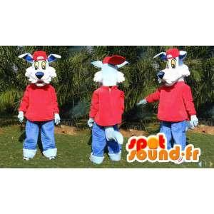Mascotte de chien bleu habillé en rouge - Toutes tailles - MASFR006580 - Mascottes de chien