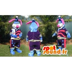 Blå kaninmaskot i färgglad outfit med stjärnor - Spotsound