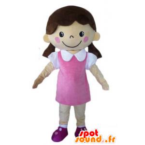 Flirttaileva tyttö maskotti pukeutunut vaaleanpunainen mekko - MASFR23965 - Maskotteja Boys and Girls