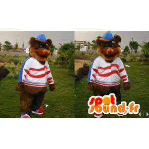 Bruine beer mascotte van alle harige, met een pet - MASFR006583 - Bear Mascot