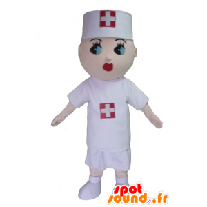 νοσοκόμα μασκότ, με μια λευκή μπλούζα