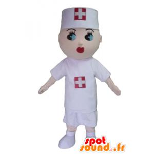 Mascota de la enfermera, con una blusa blanca