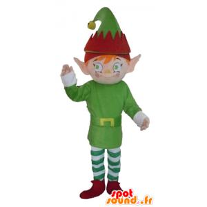 Kobold Maskottchen, elf, in Grün, Weiß und Rot gekleidet - MASFR23974 - Menschliche Maskottchen