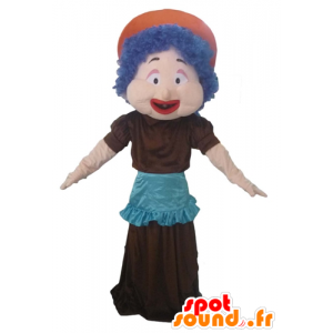 Mascot woman with blue hair, a dress and apron
