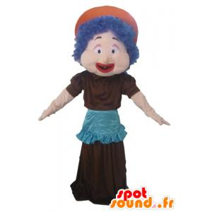Mascotte de femme, avec des cheveux bleus, une robe et un tablier
