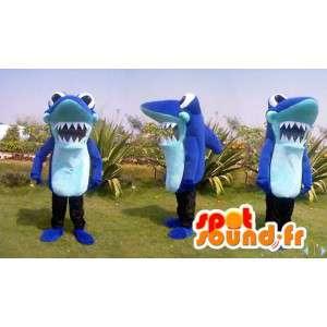 Blauwe haai mascotte reuzegrootte - alle maten