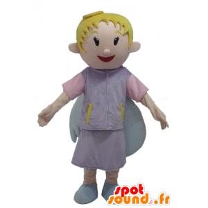 Angel Mascot, blonde, smilende, vakre vinger - MASFR23979 - Fairy Maskoter