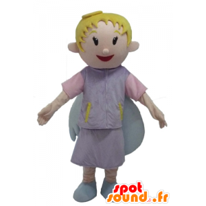 Angel Mascot, vaalea, hymyilee, ihanat siivet - MASFR23979 - keiju Maskotteja