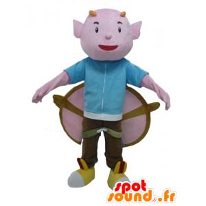 Mascot rosa Teufel mit Hörnern und großen Flügeln - MASFR23980 - Fehlende tierische Maskottchen