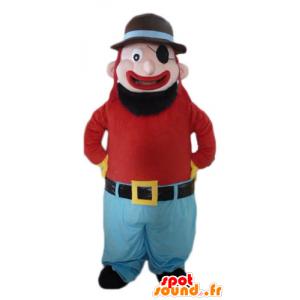 Maskottchen und lächelnd bärtiger Mann mit einer Augenklappe - MASFR23984 - Menschliche Maskottchen