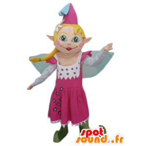 Mascot pretty fairy in pink dress, with blonde hair