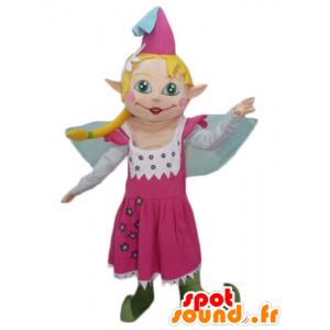 Mascotte mooie fee in roze jurk, met blond haar