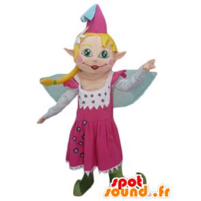 Mascotte de jolie fée en robe rose, avec les cheveux blonds - MASFR23985 - Mascottes Fée
